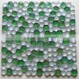 White and green colored graze round glass mosaic tiles