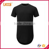 Mens 100% cotton hip hop t shirt Custom tall elongate extended longline t-shirt from GuangZhou Manufacturer                                                                         Quality Choice
