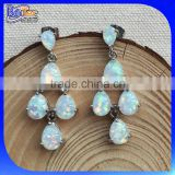 Opal Jewelry Factory !!! Wholesale Lab Created White Opal 925 Sterling Silver Teardrop Opal Earring