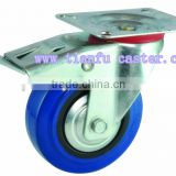 top plate swivel industrial blue rubber caster, swivel with total brake and lock                                                                         Quality Choice