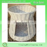 Wholesale wicker basketry Two Tier White Wicker Pet Basket Beds Wicker Cave with Bed on Top Wicker Cat Bunk Bed