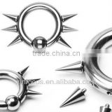 316L Surgical Steel Captive Bead Ring w/ 6 Internally Threaded Spikes, 8ga bcr body jewelry