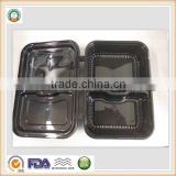 800ml Disposable Plastic Two Compartments Black Food Container hinging Lid SGS/FDA Appoval Microwave Oven safe