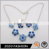 Jewelry Sets Rhodium Plated Combine With Five Alloy Flower Inlay Resin Stones Necklace And Earring Set