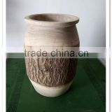 Handmade wood finish ornamental flower pot with bark for home decor
