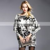 Fashion Woman Long Sleeve Autumn Sweater Female Midi Length Knitting Warm Cardigan Trandy Character Prniting
