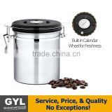 Stainless Steel Vacuum Sealed Airtight Canister with Built-in CO2 Gas Vent Valve and Date Tracking Wheel for Coffee Beans and Co