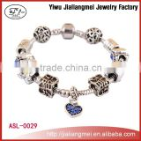 2015 wholesale homemade silver crystal beads heart charms bracelets