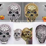46*31mm Wholesale Fashion Vintage Silver Gold Rhinestone Crystal Punk Halloween Skeleton Skull Brooches Pins For Women Men