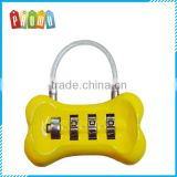 Promotional Metal dog bone luggage lock, bone code padlock