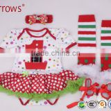 wholesale 2016 Boutique Christmas Santa Baby Clothes Little Girl Cloth Infant Skirt Outfit Holiday Newborn Romper Sets
