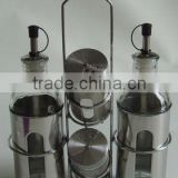 cylinder s/s glass oil vinegar sauce dispenser with stainless steel coating set with rack