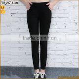 Women simple slim fit elastic straight legging trousers black polyester pants tight trousers