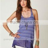 Free People New Cheerful Ribbed Chiffon Hem Blue Violet Tank Top Tunic M NWT