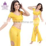 2015 fashionable women yellow crop top and pants set belly dance wear for practice
