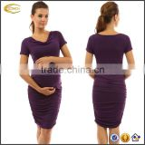 Ecoach Wholesale OEM Fashion Women Pregnancy Clothes Cowl Neck Short Sleeve Nursing Tight Pencil Casual Maternity Dress
