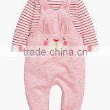 Cute Baby Girls Pink Bunny Dungarees And Bodysuit Set Romper Kids Clothing Unisex Child Clothes 2016 HSD5722