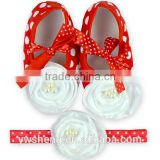 hot selling 2pcs/lot children baby girl toddler casual shoes big flower dot printed baby shoes with hair