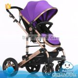 Most popular good baby child products 2-in-1 aluminum 5 point safety buckle fashion stroller