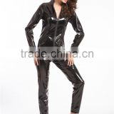 2016 walson Black Shiny WETLOOK CATSUIT Catwoman Ladies Fancy Dress COSTUME