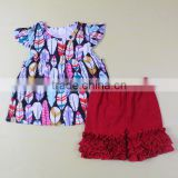 2017 popular style silk milk top and skirt set baby girl red shorts fashion cheap clothes