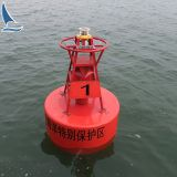 A temporary navigation marker buoy to indicate the boundaries of swept paths, swept areas, known hazards