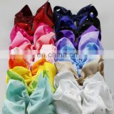 New design fabric big size 18cm bowknot Metal Hair Clips rhinestone stick fabric bowknot with alligator Clips for kids