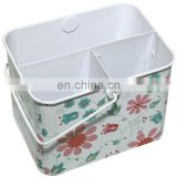 rectangular tin with divider and metal handle
