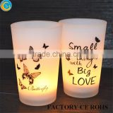 customized frosted butterfly tealight high candelbra / color glass baubles / candle jars with wooden lids                                                                         Quality Choice