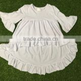 new style white dress clothes and blue bell-bottom girls baby and kids wholesale boutique outfits
