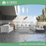 Cheap modern custom black and white crossed grid design outdoor wicker furniture rattan sofa set                                                                                         Most Popular                                                     Suppl