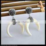 LFD-073E Wholesale White Bone Crescent Moon Horn Dangle Earrings , Crystal Rhinestone Paved Fashion Druzy Earring Charm Jewelry