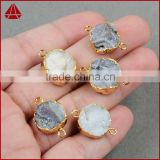 Small round galaxy quartz agate druzy geode gemstone connector from wholesale guangzhou fashion jewelry market