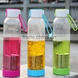 Glass drink bottle juice fruit water bottles shaker protein bottle 450ml Glass bottle water tea infuser filter manufacturers