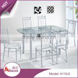 Best sale latest modern simple deisgn metal base 6 chairs size adjustable glass dining table for restaurant