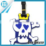Cute Plastic Rubber Luggage Tag with Leather Strap,Custom Skullcandy Shape Rubber Luggage Tag