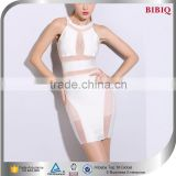 2015 two piece sexy white see through bandage dress