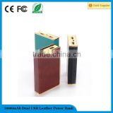 18650 enternal battery dual USB leather power bank 20000mah for samsung galaxy,blackberry,ipad