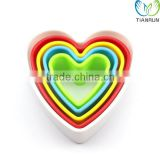 New Colourful Heart Shape Cookie Biscuit Cutter Plastic Mould Pastry