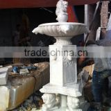 Flower garden stone water fountain lion head hand carved marble sculpture from Vietnan