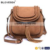customized metal rivet and tassels PU leather women brown crossbody bag