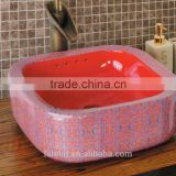 Handpainted ceramic art basin colorful countertop round sink porcelain flower edge bowl vanity top GD-F22