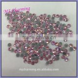 Super shiny bling light rose pink iron-on rhinestones SS6,SS8,SS10,SS16,SS20,SS30 for bridal gowns and evening dress