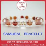 Sanada Yukimura, samurai bracelet, women bracelet, crystal quartz 12 mm with Fire Agate, gadgets from japan, natural stones
