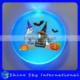Frosted Surface Plastic Halloween Flashing Pin Badge 5cm Big Round Flashing Badge For Clothing