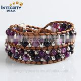 6mm natural purple agate crystal leather wrap bracelet, seed bead leather wrap bracelet, semi precious stone wrap bracelet