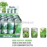 herb seeds in tin can/tin can planter/basil parsley oregano chive mint seeds in planter