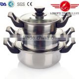 hot selling new design 3pcs stainless steel indian pot pan set