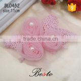 Fashion pearl center pink rose organza dress applique for baby girl