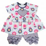 Pretty little girl flower printing dress kids baby bubble cotton rompers